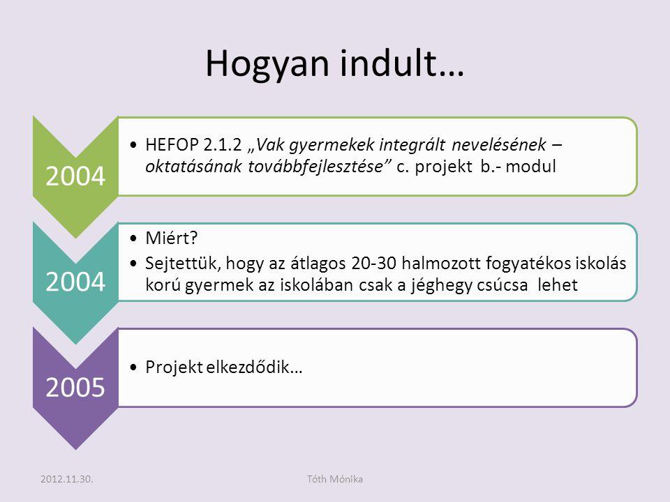 """Hogyan indult… 2004 •HEFOP 2.1.2 """"Vak gyermekek integrált nevelésének – oktatásának továbbfejlesztése c."""