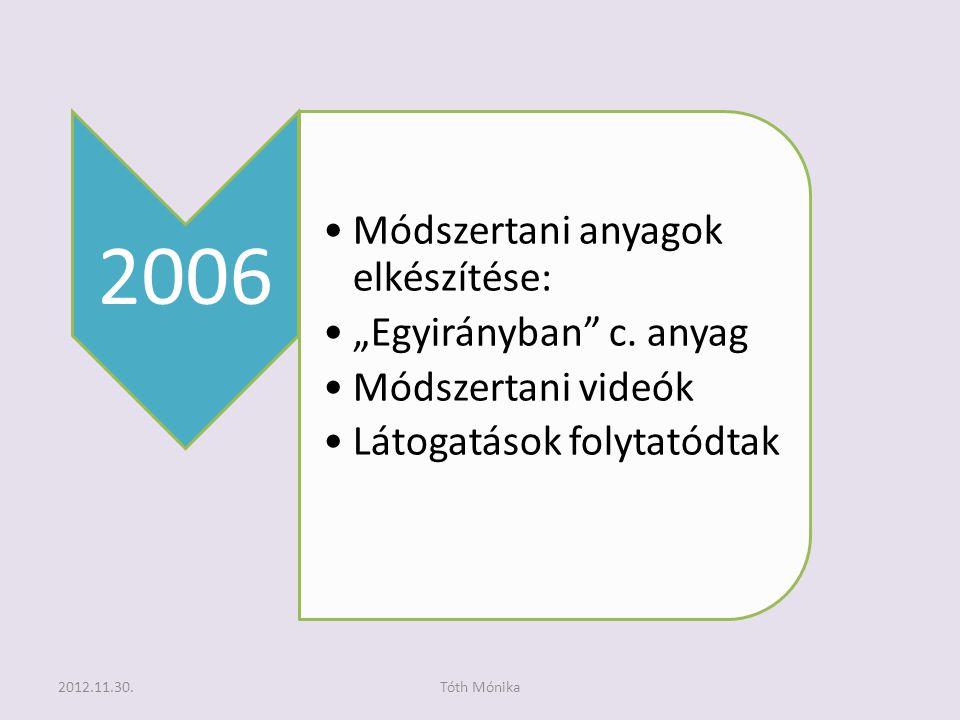 """2006 •Módszertani anyagok elkészítése: •""""Egyirányban c."""