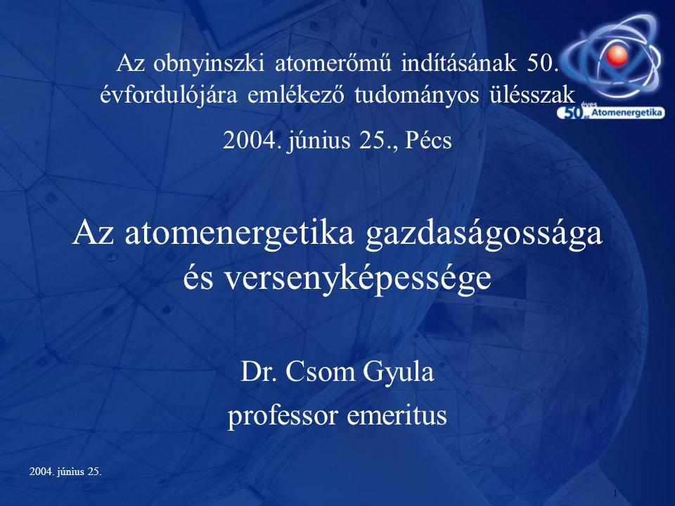 1 Az obnyinszki atomerőmű indításának 50. évfordulójára emlékező tudományos ülésszak 2004. június 25., Pécs Az atomenergetika gazdaságossága és versen
