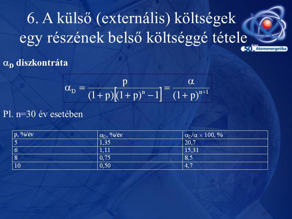 17  D diszkontráta Pl. n=30 év esetében 6. A külső (externális) költségek egy részének belső költséggé tétele