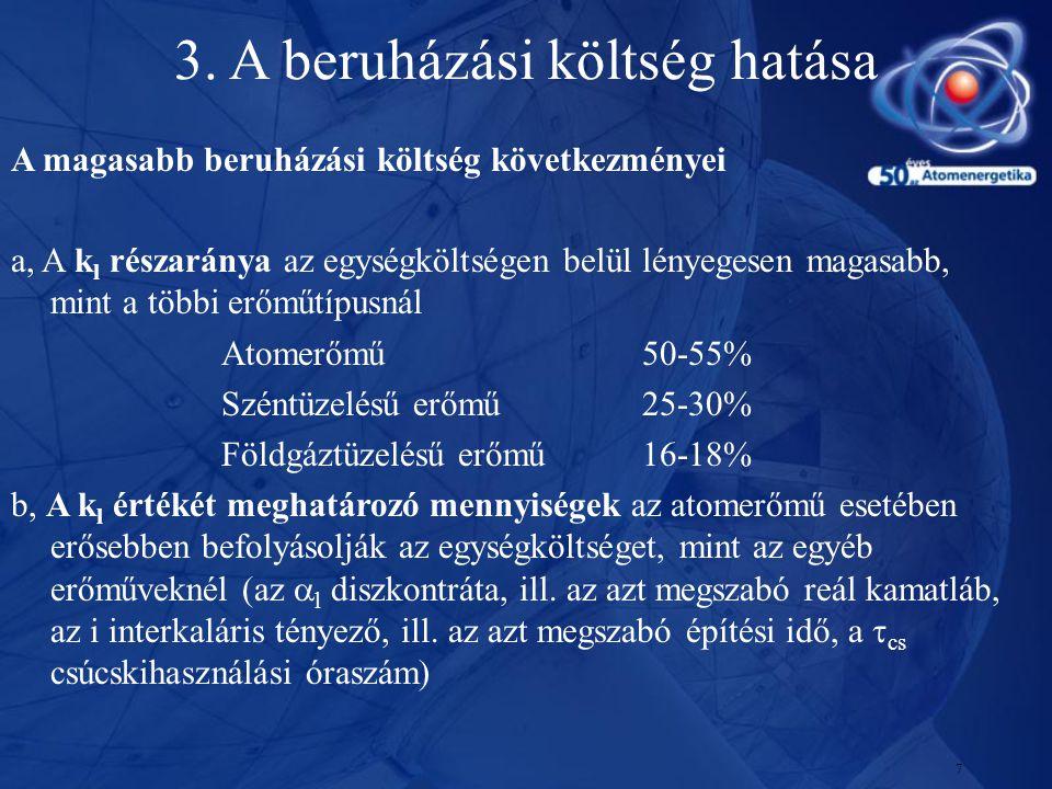 7 A magasabb beruházási költség következményei a, A k l részaránya az egységköltségen belül lényegesen magasabb, mint a többi erőműtípusnál Atomerőmű