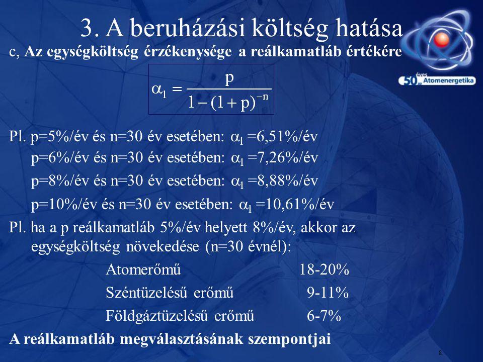 8 c, Az egységköltség érzékenysége a reálkamatláb értékére Pl. p=5%/év és n=30 év esetében:  l =6,51%/év p=6%/év és n=30 év esetében:  l =7,26%/év p
