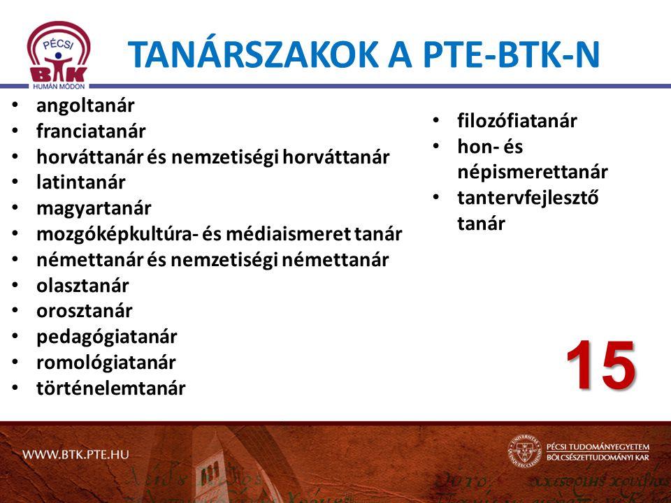 TANÁRSZAKOK A PTE-BTK-N • angoltanár • franciatanár • horváttanár és nemzetiségi horváttanár • latintanár • magyartanár • mozgóképkultúra- és médiaism