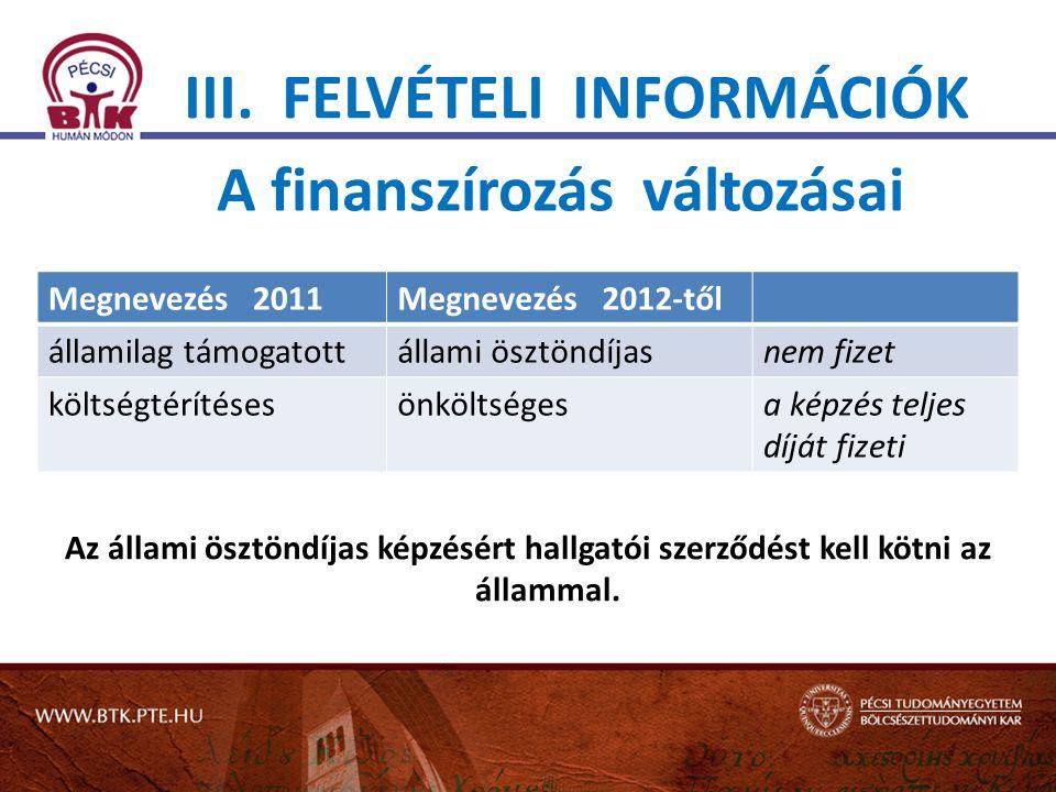 III. FELVÉTELI INFORMÁCIÓK Az állami ösztöndíjas képzésért hallgatói szerződést kell kötni az állammal. A finanszírozás változásai Megnevezés 2011Megn