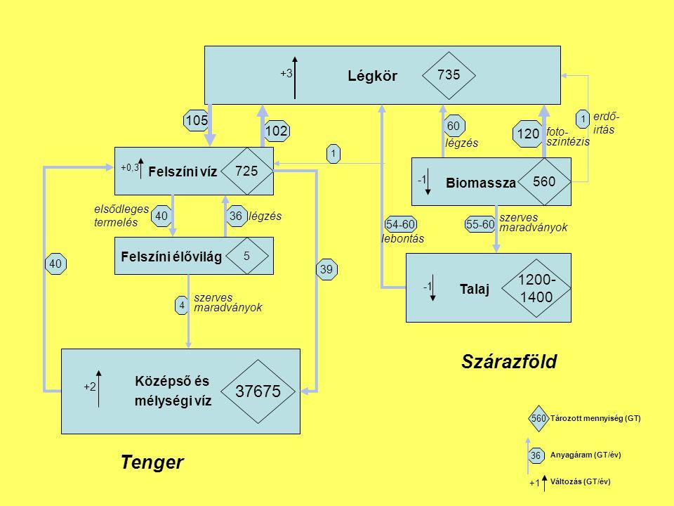 Légkör 735 Felszíni víz 725 Felszíni élővilág 5 Középső és mélységi víz 37675 Biomassza 560 Talaj 1200- 1400 105 102 4036 4 +3 +2 60 120 55-60 +0,3 40 39 54-60 1 1 Tenger Szárazföld lebontás erdő- irtás légzés foto- szintézis szerves maradványok szerves maradványok légzés elsődleges termelés 560 36 +1 Tározott mennyiség (GT) Anyagáram (GT/év) Változás (GT/év)