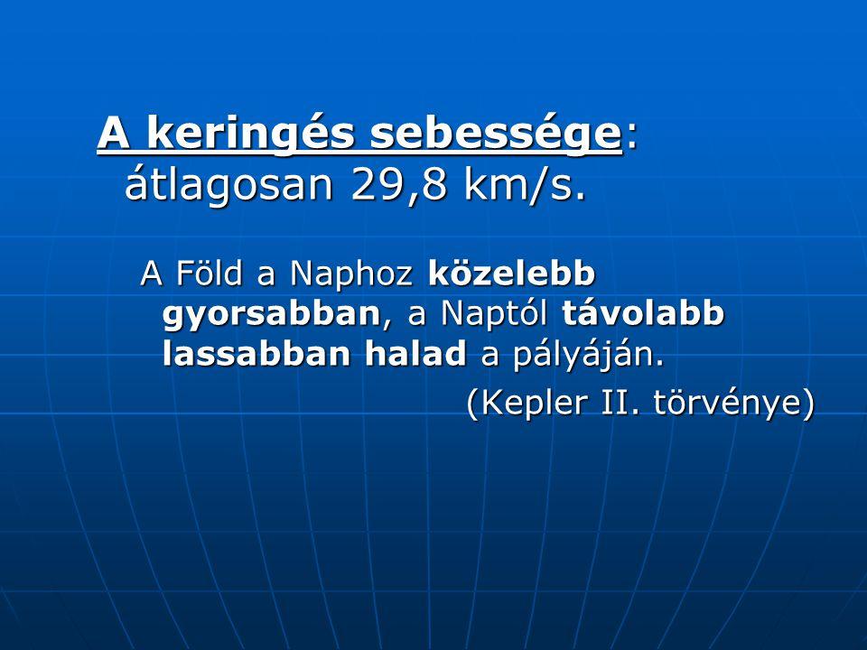 A keringés sebessége: átlagosan 29,8 km/s. A Föld a Naphoz közelebb gyorsabban, a Naptól távolabb lassabban halad a pályáján. (Kepler II. törvénye)