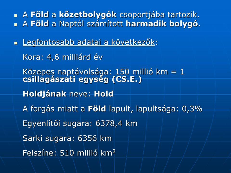 A keringés sebessége: átlagosan 29,8 km/s.