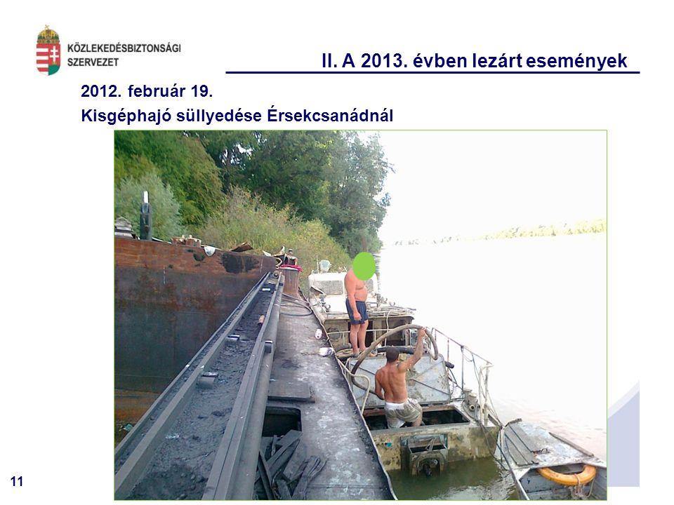 11 II. A 2013. évben lezárt események 2012. február 19. Kisgéphajó süllyedése Érsekcsanádnál