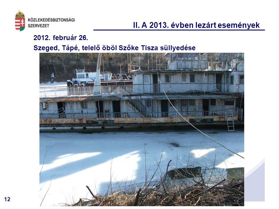 12 II. A 2013. évben lezárt események 2012. február 26. Szeged, Tápé, telelő öböl Szőke Tisza süllyedése