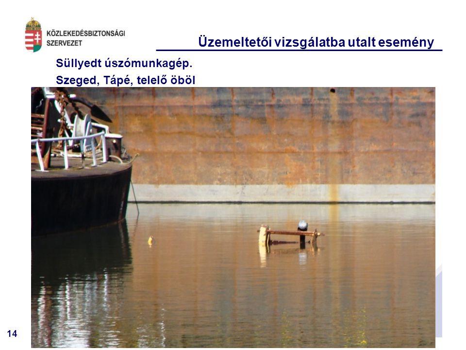 14 Süllyedt úszómunkagép. Szeged, Tápé, telelő öböl Üzemeltetői vizsgálatba utalt esemény