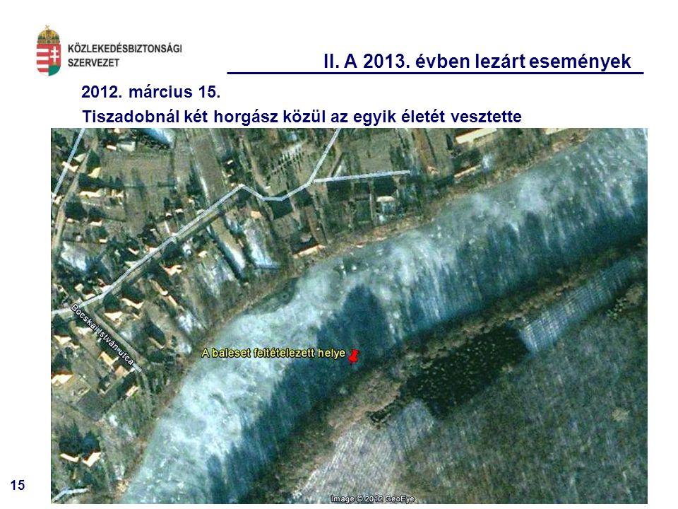 15 II. A 2013. évben lezárt események 2012. március 15. Tiszadobnál két horgász közül az egyik életét vesztette