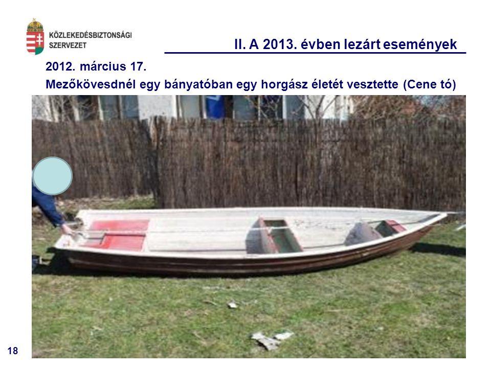 18 II. A 2013. évben lezárt események 2012. március 17. Mezőkövesdnél egy bányatóban egy horgász életét vesztette (Cene tó)