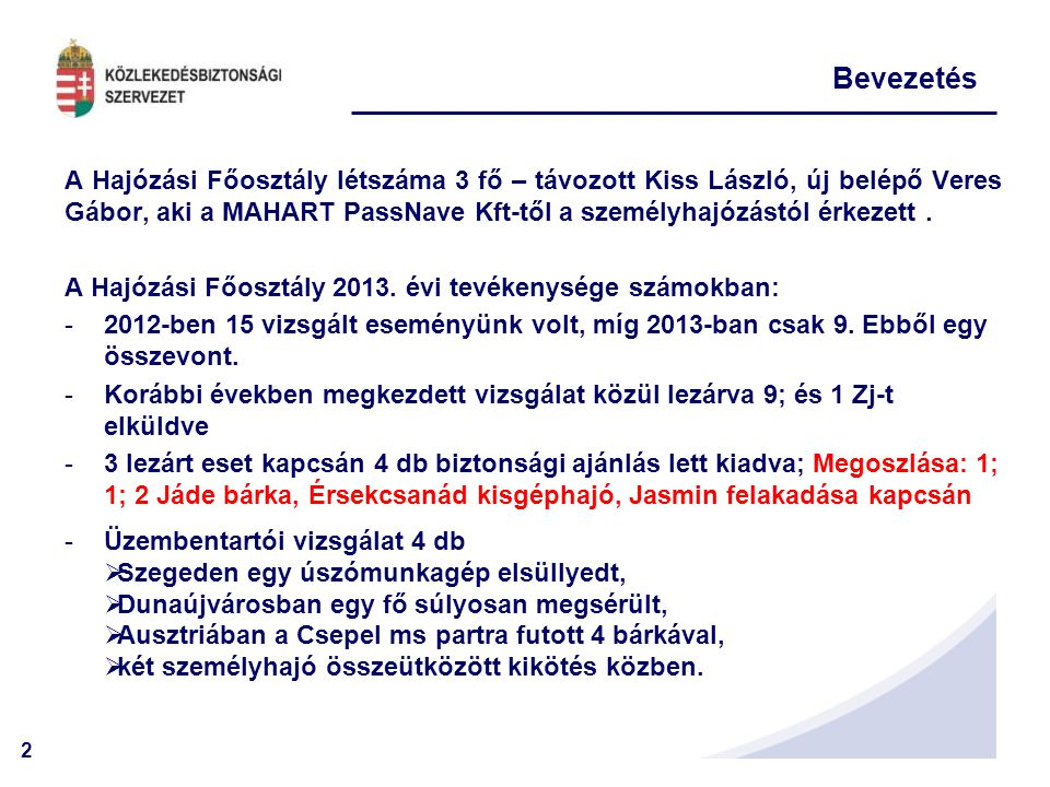 23 II.A 2013. évben lezárt események 2012. Október 5.