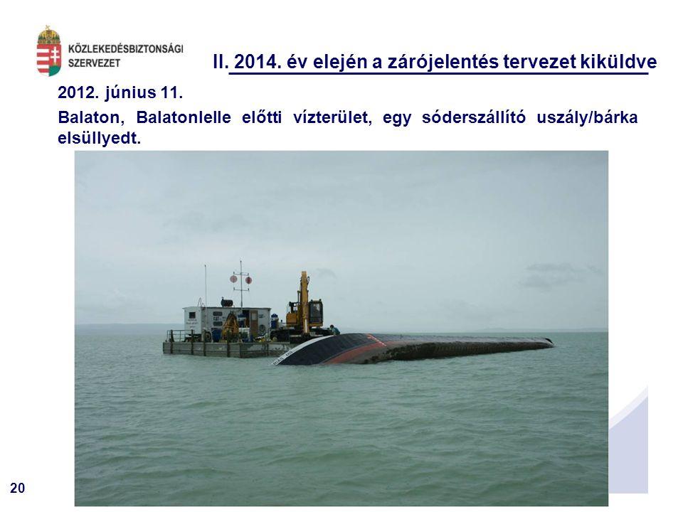 20 II. 2014. év elején a zárójelentés tervezet kiküldve 2012. június 11. Balaton, Balatonlelle előtti vízterület, egy sóderszállító uszály/bárka elsül