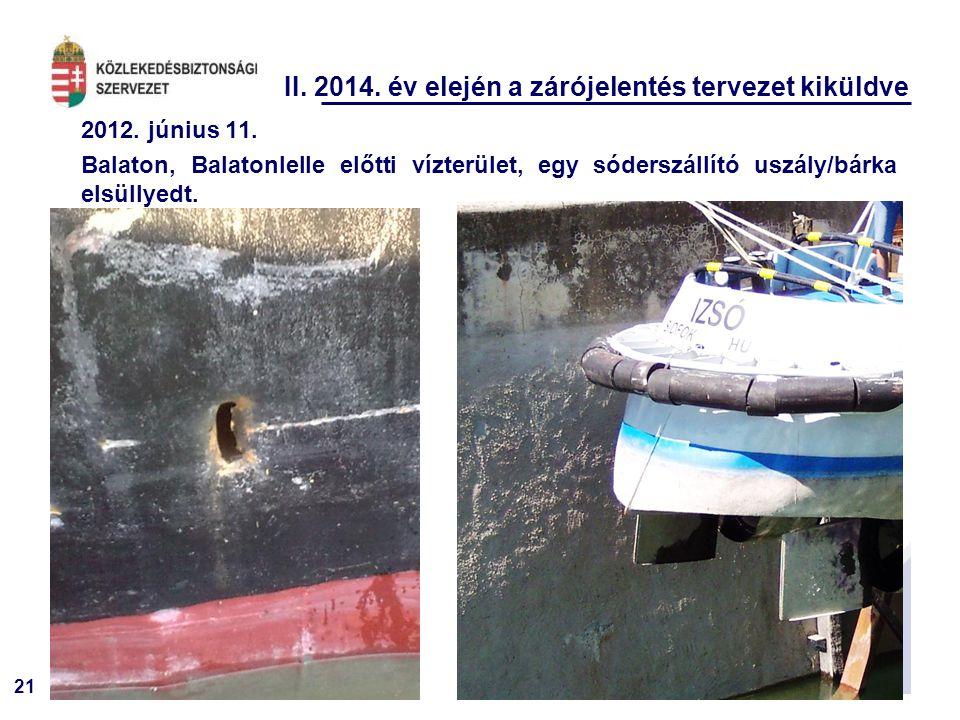 21 II. 2014. év elején a zárójelentés tervezet kiküldve 2012. június 11. Balaton, Balatonlelle előtti vízterület, egy sóderszállító uszály/bárka elsül