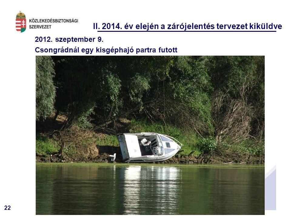 22 II.2014. év elején a zárójelentés tervezet kiküldve 2012.