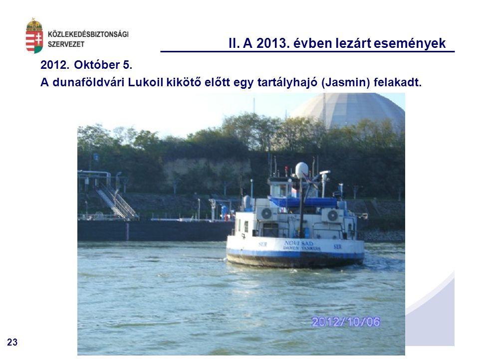 23 II. A 2013. évben lezárt események 2012. Október 5. A dunaföldvári Lukoil kikötő előtt egy tartályhajó (Jasmin) felakadt.