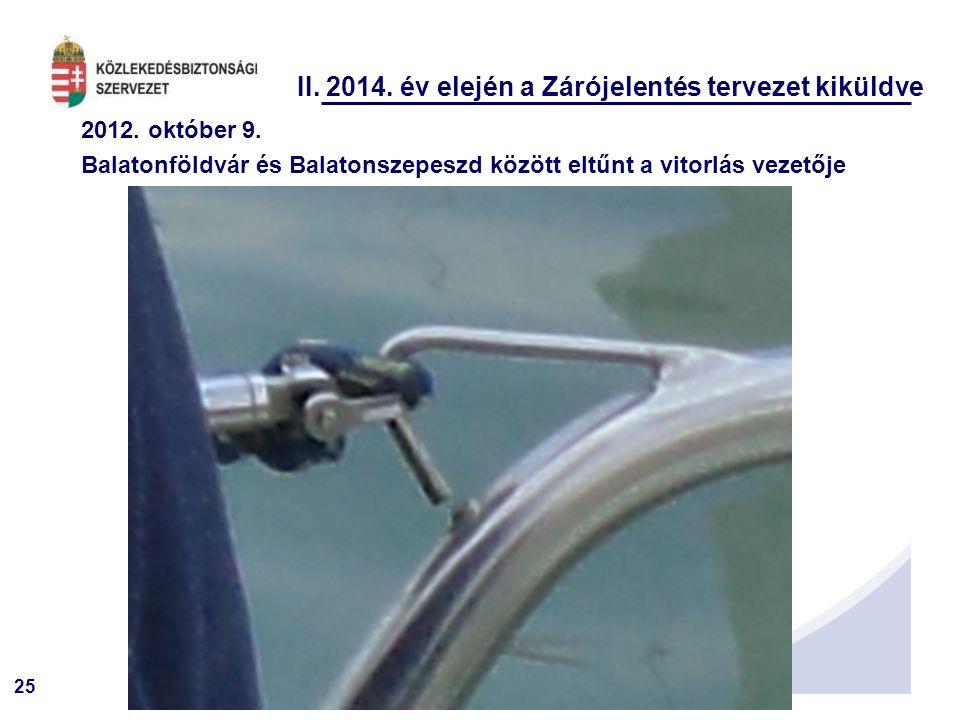 25 II. 2014. év elején a Zárójelentés tervezet kiküldve 2012. október 9. Balatonföldvár és Balatonszepeszd között eltűnt a vitorlás vezetője
