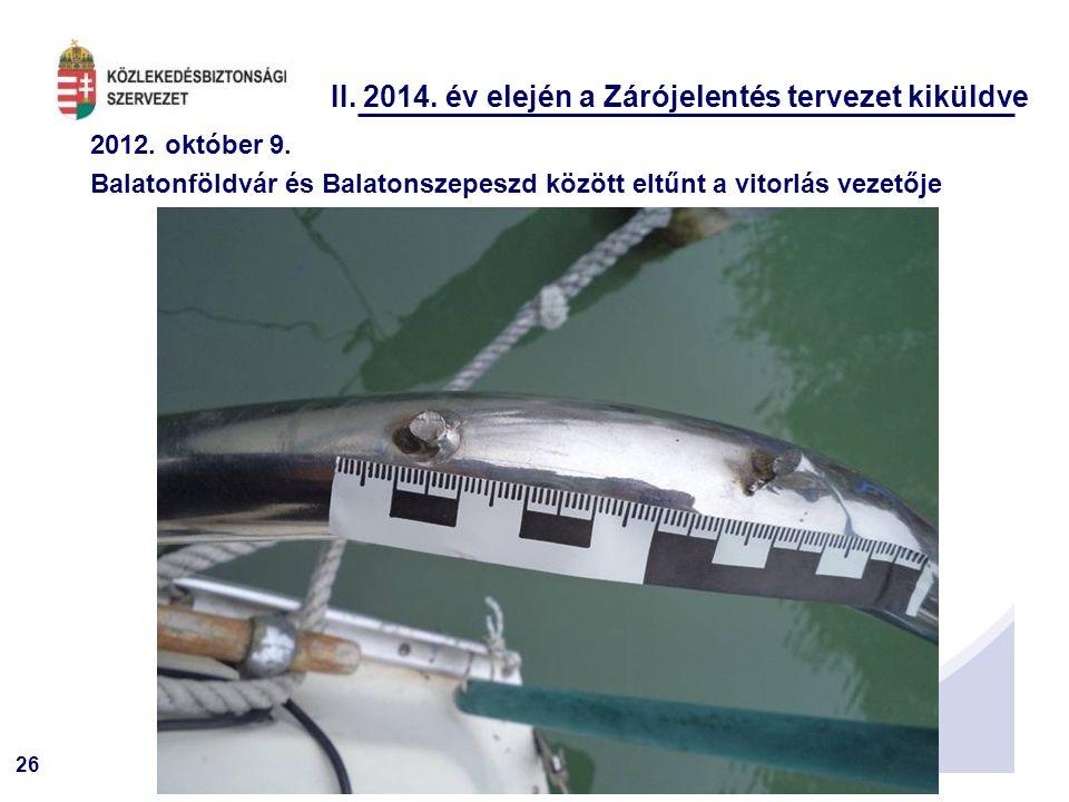 26 II. 2014. év elején a Zárójelentés tervezet kiküldve 2012. október 9. Balatonföldvár és Balatonszepeszd között eltűnt a vitorlás vezetője