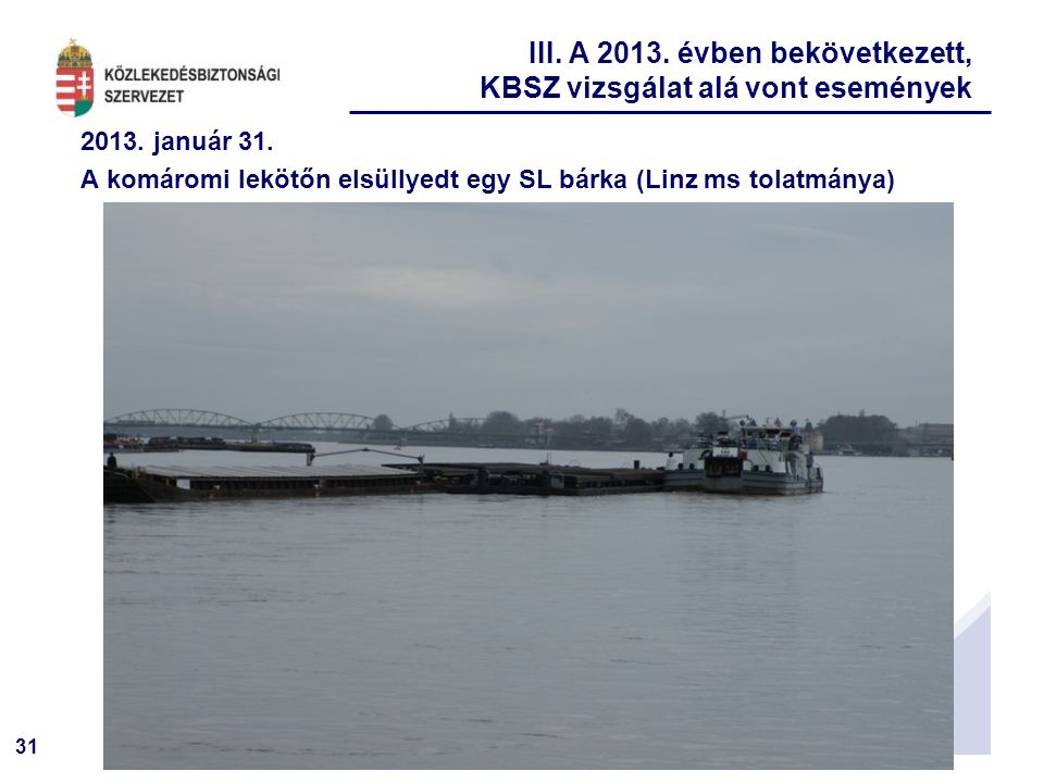 31 2013. január 31. A komáromi lekötőn elsüllyedt egy SL bárka (Linz ms tolatmánya) III. A 2013. évben bekövetkezett, KBSZ vizsgálat alá vont eseménye