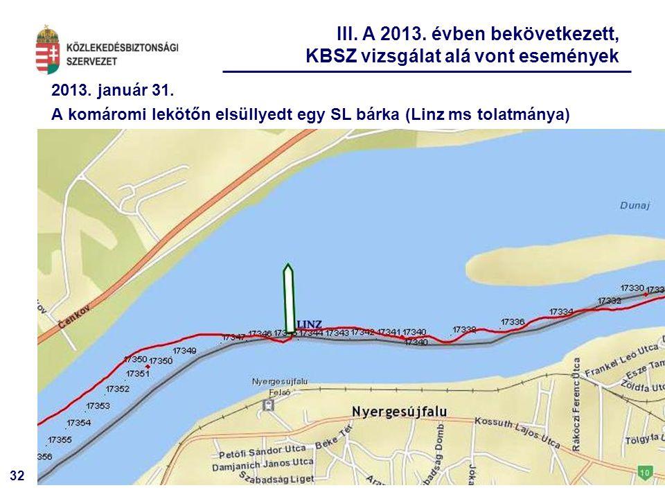 32 2013. január 31. A komáromi lekötőn elsüllyedt egy SL bárka (Linz ms tolatmánya) III. A 2013. évben bekövetkezett, KBSZ vizsgálat alá vont eseménye