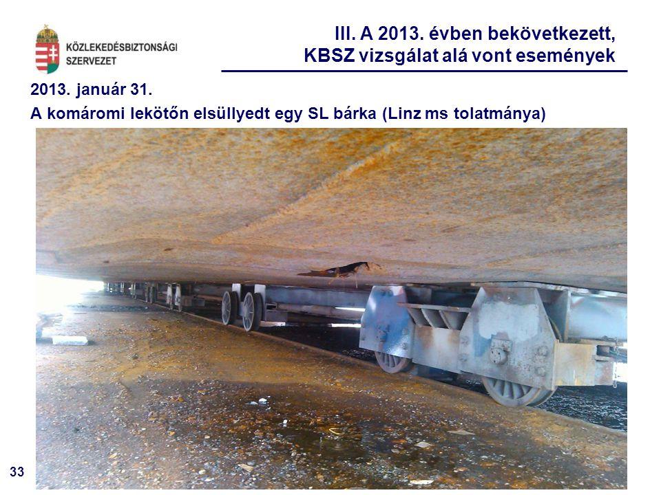 33 2013. január 31. A komáromi lekötőn elsüllyedt egy SL bárka (Linz ms tolatmánya) III. A 2013. évben bekövetkezett, KBSZ vizsgálat alá vont eseménye