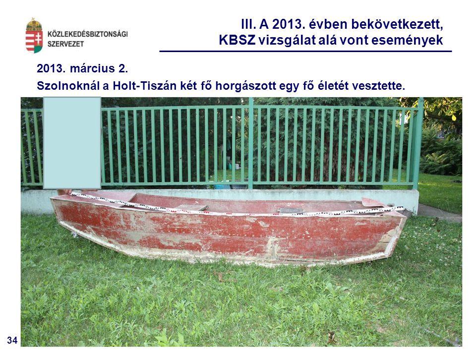 34 2013. március 2. Szolnoknál a Holt-Tiszán két fő horgászott egy fő életét vesztette. III. A 2013. évben bekövetkezett, KBSZ vizsgálat alá vont esem