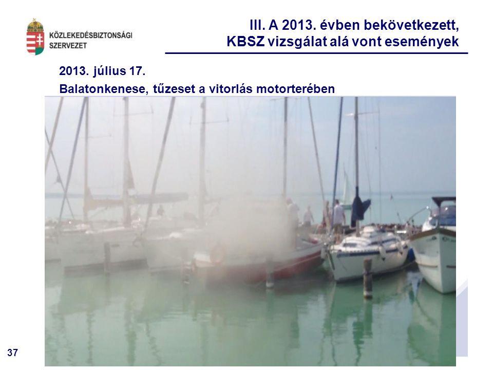37 2013. július 17. Balatonkenese, tűzeset a vitorlás motorterében III. A 2013. évben bekövetkezett, KBSZ vizsgálat alá vont események