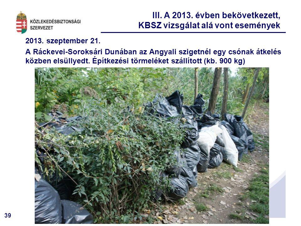 39 2013. szeptember 21. A Ráckevei-Soroksári Dunában az Angyali szigetnél egy csónak átkelés közben elsüllyedt. Építkezési törmeléket szállított (kb.