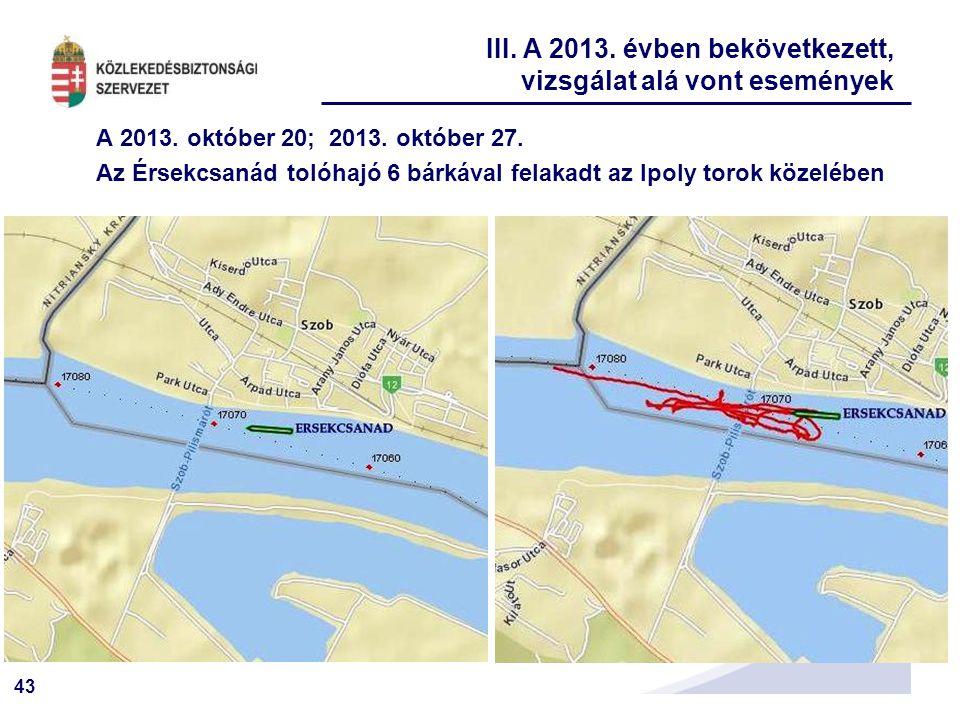 43 A 2013. október 20; 2013. október 27. Az Érsekcsanád tolóhajó 6 bárkával felakadt az Ipoly torok közelében III. A 2013. évben bekövetkezett, vizsgá