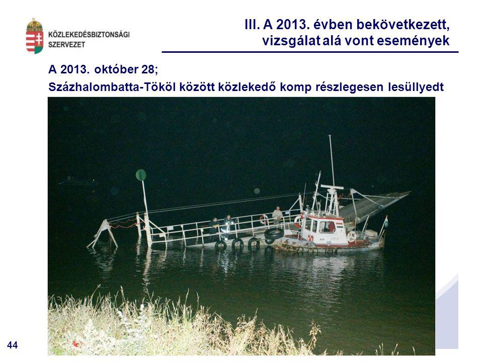 44 A 2013. október 28; Százhalombatta-Tököl között közlekedő komp részlegesen lesüllyedt III. A 2013. évben bekövetkezett, vizsgálat alá vont eseménye