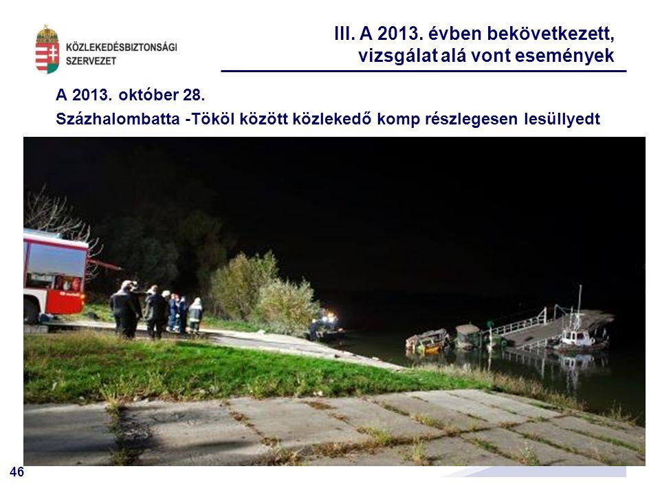 46 A 2013. október 28. Százhalombatta -Tököl között közlekedő komp részlegesen lesüllyedt III. A 2013. évben bekövetkezett, vizsgálat alá vont esemény