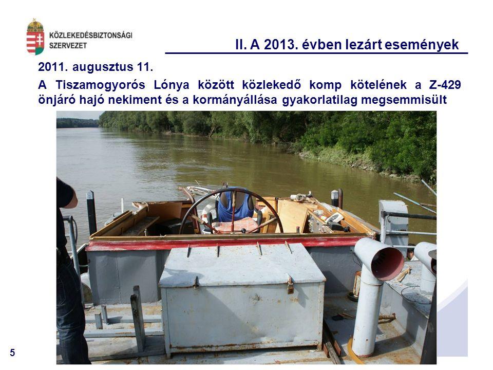 5 II. A 2013. évben lezárt események 2011. augusztus 11. A Tiszamogyorós Lónya között közlekedő komp kötelének a Z-429 önjáró hajó nekiment és a kormá