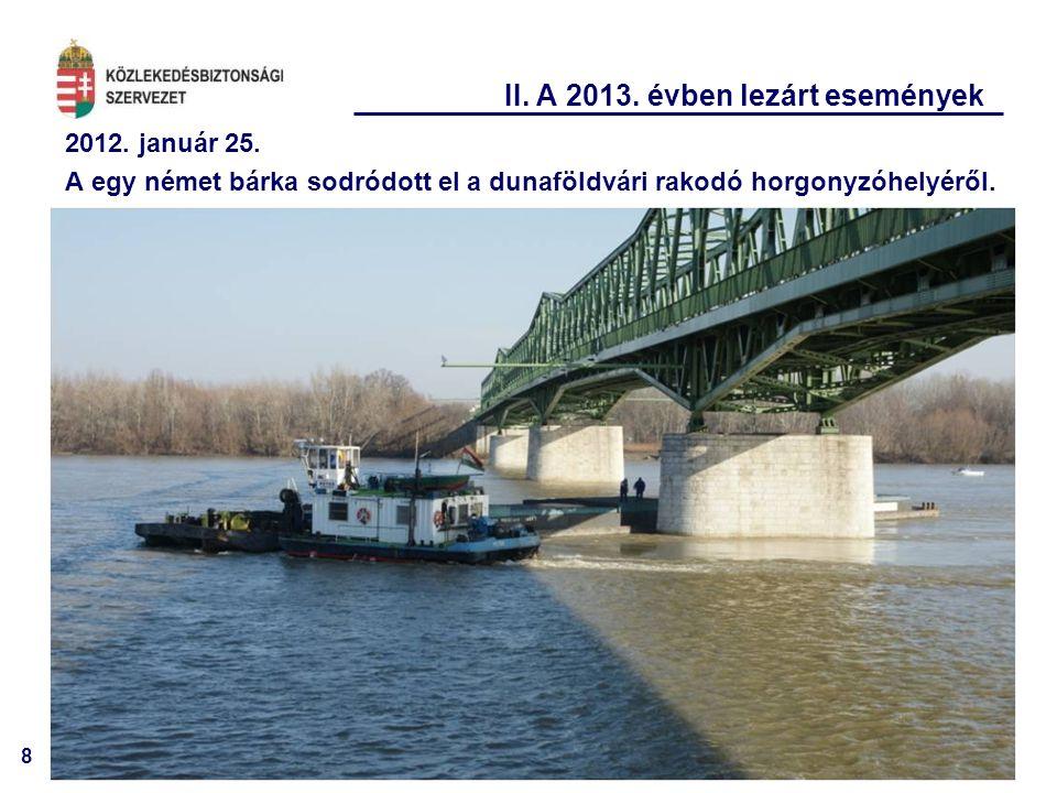 8 II. A 2013. évben lezárt események 2012. január 25. A egy német bárka sodródott el a dunaföldvári rakodó horgonyzóhelyéről.