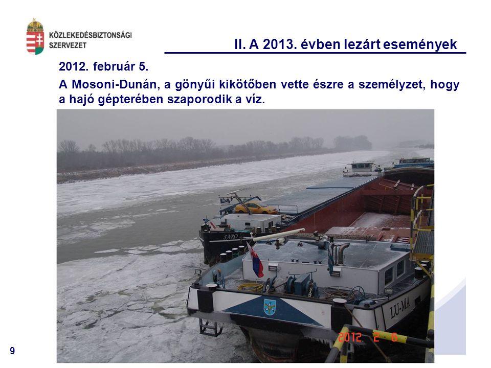 9 II. A 2013. évben lezárt események 2012. február 5. A Mosoni-Dunán, a gönyűi kikötőben vette észre a személyzet, hogy a hajó gépterében szaporodik a