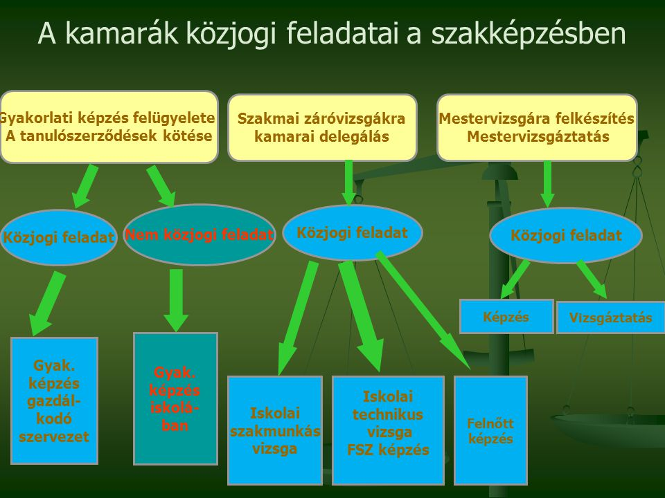 A kamarák közjogi feladatai a szakképzésben Gyakorlati képzés felügyelete A tanulószerződések kötése Szakmai záróvizsgákra kamarai delegálás Mestervizsgára felkészítés Mestervizsgáztatás Közjogi feladat Nem közjogi feladat Közjogi feladat Gyak.