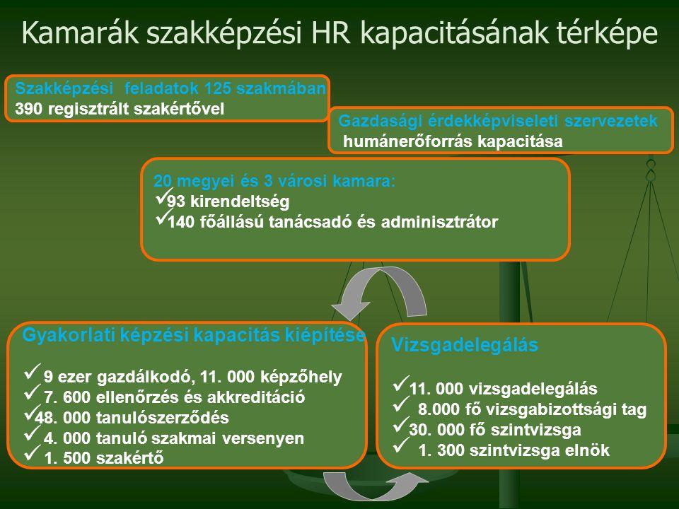 Szakképzési feladatok 125 szakmában 390 regisztrált szakértővel Kamarák szakképzési HR kapacitásának térképe 20 megyei és 3 városi kamara:  93 kirend