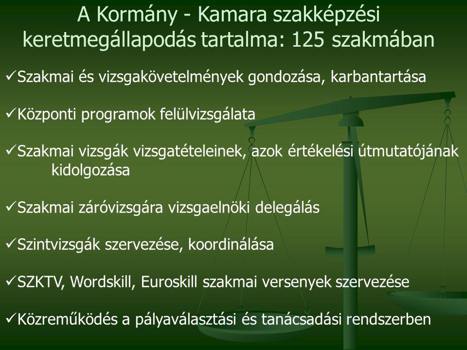  Szakmai és vizsgakövetelmények gondozása, karbantartása  Központi programok felülvizsgálata  Szakmai vizsgák vizsgatételeinek, azok értékelési útmutatójának kidolgozása  Szakmai záróvizsgára vizsgaelnöki delegálás  Szintvizsgák szervezése, koordinálása  SZKTV, Wordskill, Euroskill szakmai versenyek szervezése  Közreműködés a pályaválasztási és tanácsadási rendszerben A Kormány - Kamara szakképzési keretmegállapodás tartalma: 125 szakmában