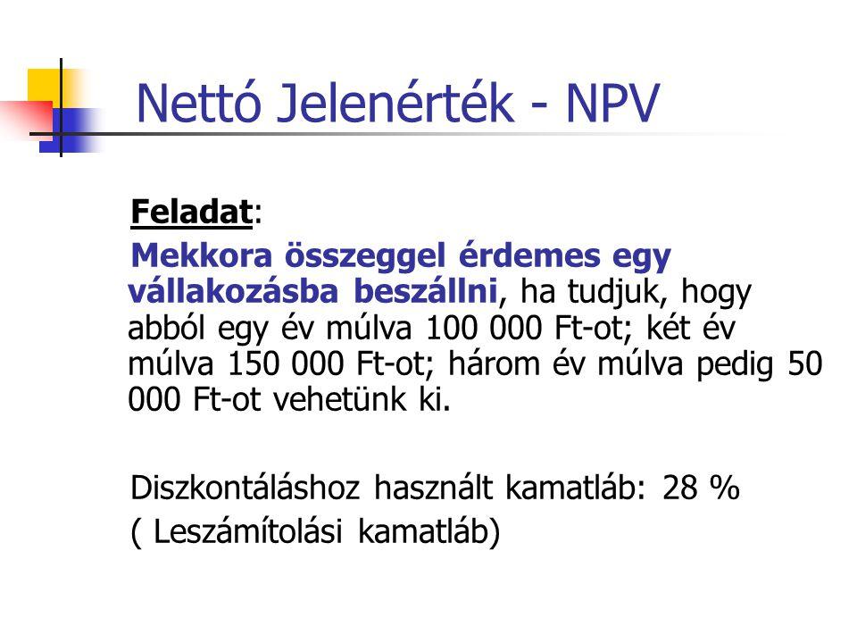 Nettó Jelenérték - NPV Feladat: Mekkora összeggel érdemes egy vállakozásba beszállni, ha tudjuk, hogy abból egy év múlva 100 000 Ft-ot; két év múlva 1