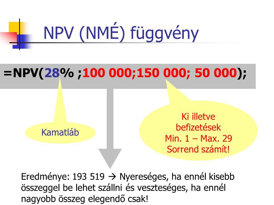 NPV (NMÉ) függvény =NPV(28% ;100 000;150 000; 50 000); Kamatláb Ki illetve befizetések Min. 1 – Max. 29 Sorrend számít! Eredménye: 193 519  Nyeresége