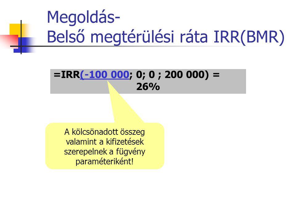 Megoldás- Belső megtérülési ráta IRR(BMR) =IRR(-100 000; 0; 0 ; 200 000) = 26% A kölcsönadott összeg valamint a kifizetések szerepelnek a fügvény para