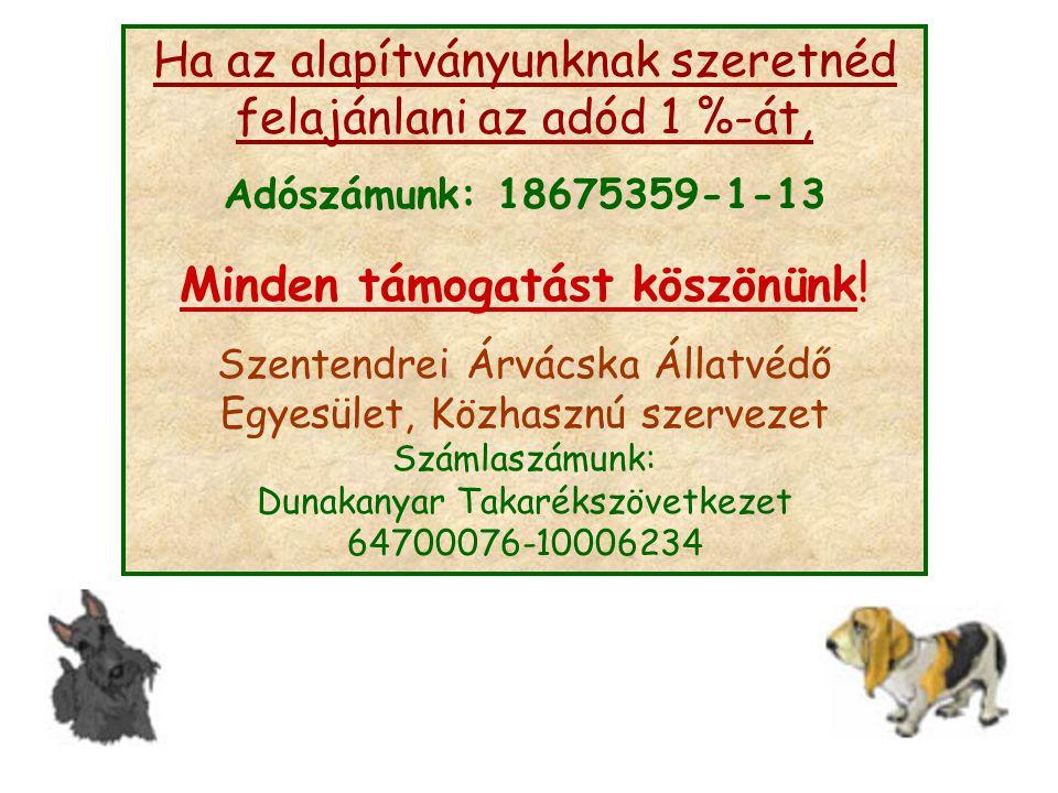 Ha az alapítványunknak szeretnéd felajánlani az adód 1 %-át, Adószámunk: 18675359-1-13 Minden támogatást köszönünk ! Szentendrei Árvácska Állatvédő Eg
