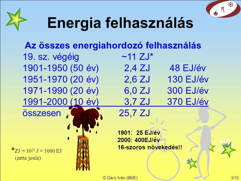 © Gács Iván (BME)2/16 Világ energiaigénye I.Vh. II.