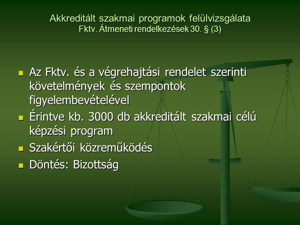 Akkreditált szakmai programok felülvizsgálata Fktv. Átmeneti rendelkezések 30. § (3)  Az Fktv. és a végrehajtási rendelet szerinti követelmények és s