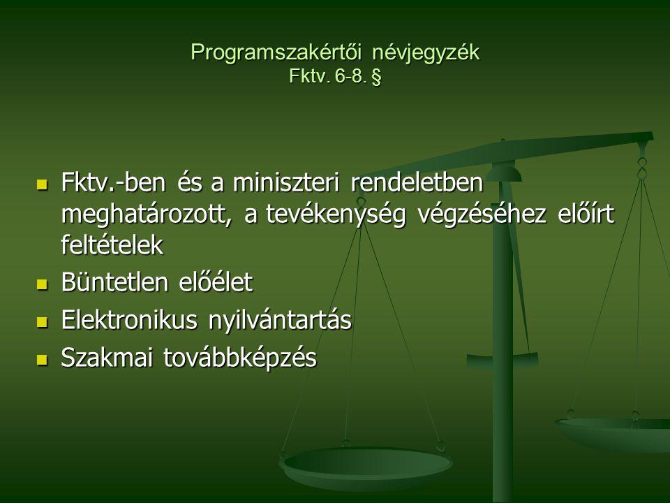 Programszakértői névjegyzék Fktv. 6-8. §  Fktv.-ben és a miniszteri rendeletben meghatározott, a tevékenység végzéséhez előírt feltételek  Büntetlen
