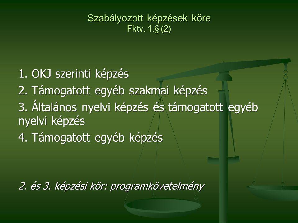Szabályozott képzések köre Fktv. 1.§ (2) 1. OKJ szerinti képzés 2. Támogatott egyéb szakmai képzés 3. Általános nyelvi képzés és támogatott egyéb nyel