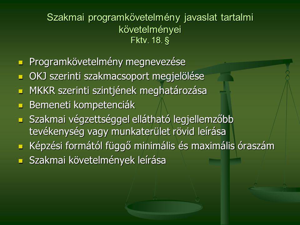 Szakmai programkövetelmény javaslat tartalmi követelményei Fktv. 18. §  Programkövetelmény megnevezése  OKJ szerinti szakmacsoport megjelölése  MKK