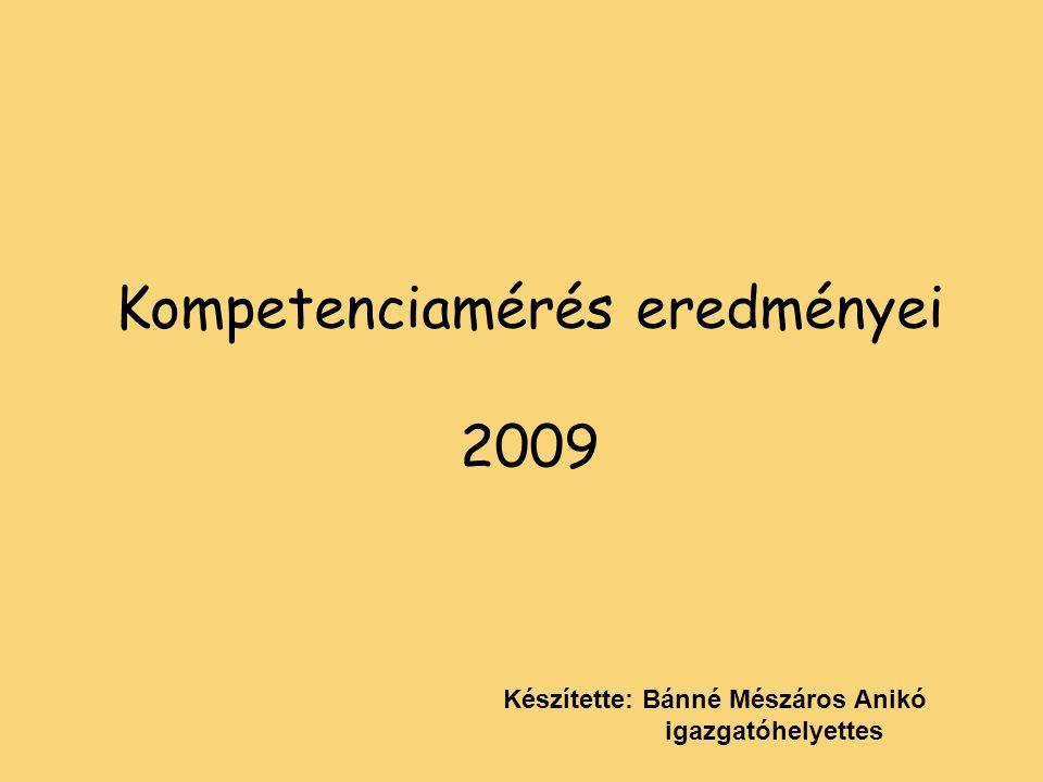 Kompetenciamérés eredményei 2009 Készítette: Bánné Mészáros Anikó igazgatóhelyettes