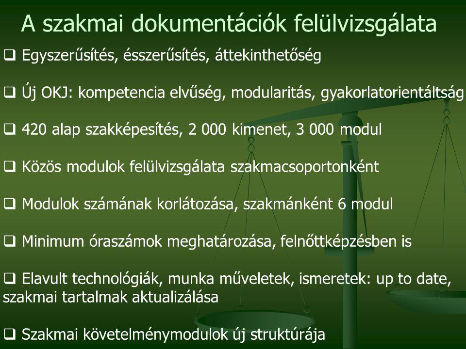 A szakmai dokumentációk felülvizsgálata  Egyszerűsítés, ésszerűsítés, áttekinthetőség  Új OKJ: kompetencia elvűség, modularitás, gyakorlatorientálts