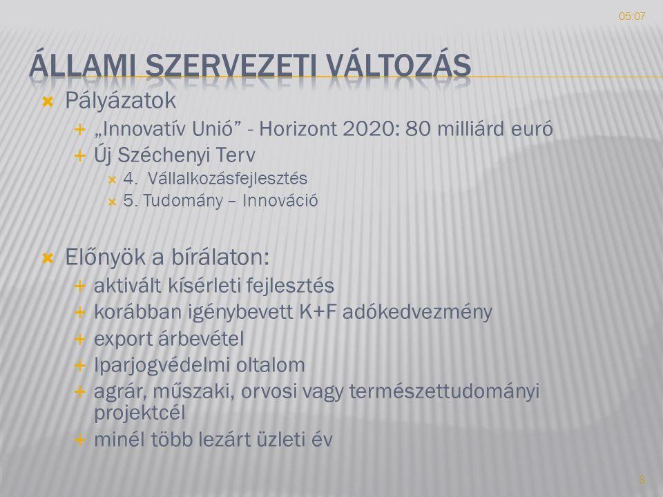 """ Pályázatok  """"Innovatív Unió - Horizont 2020: 80 milliárd euró  Új Széchenyi Terv  4."""